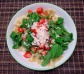 Farfalle with pesto, fresh tomatoes and rocket salad